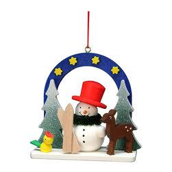 Alexander Taron - Alexander Taron Christian Ulbricht Ornament-Starry Sky Snow - 2.75H x 3W x 1.25D - Christian Ulbricht hanging ornament - Snowman and deer out on a starry night - Made in Germany.