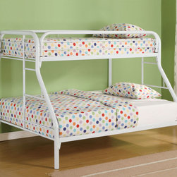 Coaster - 2258W Twin/Full Bunk Bed - White - With safety in mind, this twin over full bunk bed will also create a fun and inviting bedroom atmosphere for your little one. Full length guard rails offer security, while the built in ladders on each side provide convenience. High gloss finishes in white, blue, black, and red allow you to choose the perfect look for your child's individual style.