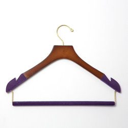 "Frontgate - Set of Five Women's Skinny Pant Hangers with Felted Bar - Available in 100% birch wood with high-gloss Bubinga Finish, purple flocking, and brass hardware or 100% maple wood construction with satin finish, black flocking, and chrome hardware. Available in two different widths (petite and standard) for optimal sizing. Each hanger measures 3/8"" wide. Felted trouser bars eliminate the creasing caused by ordinary locking-bar mechanisms. Conserves closet space with its skinny, flat profile. With our Women's Skinny Pant Hanger with Felted Bar, you can protect and extend the life of your pants. The felted ends prevent garments from sliding off the hangers.  .  .  .  .  . Sold as a set of five."