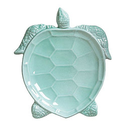 "Vietri Incanto Mare Aqua Turtle Individual Salad Plate - Handmade in Veneto of terra marrone. Mix with Incanto tableware for a sea inspired table setting! A summer strawberry salad will be a cool, refreshing treat for your guests when served on this adorable sea turtle! Dishwasher, microwave, oven, and freezer safe. This piece measures approximately 10""L x 9""W"