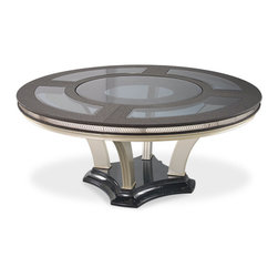 AICO - Hollywood Swank Round Table Dining Collection, Caviar - This Price is for the ENTIRE collection as detailed below: