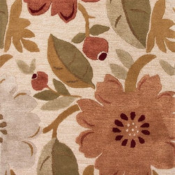 Jaipur - Country & Floral Blue 5'x8' Rectangle Antique White Area Rug - The Blue area rug Collection offers an affordable assortment of Country & Floral stylings. Blue features a blend of natural Antique White color. Hand Tufted of 70% Wool 30% Art Silk the Blue Collection is an intriguing compliment to any decor.