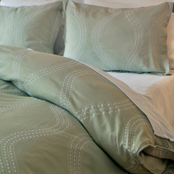 Crane & Canopy - Embroidered Designer Duvet Cover, The Marina Green - Exquisite craftsmanship and detail culminate in the graceful vertical waves of the Matcha Green Marina Duvet. Here, the importance of scale, texture and symmetry is imbued into the intricate lace embroidery.