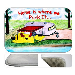 """usa - Camper Home Is Where We Park It Bath Mat,  30"""" X 20"""" - Bath mats from my original art and designs. Super soft plush fabric with a non skid backing. Eco friendly water base dyes that will not fade or alter the texture of the fabric. Washable 100 % polyester and mold resistant. Great for the bath room or anywhere in the home. At 1/2 inch thick our mats are softer and more plush than the typical comfort mats. Your toes will love you."""
