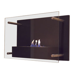 Nu-Flame - Nu-Flame Radia - Radia is unlike any fireplace you have ever seen. This sophisticated wall mounted fireplace features a chic, classic black frame and tempered glass face supported by stainless steel standoffs. The large 1.5 liter burner provides a long burn time enhancing any setting for extended enjoyment. Easily adjust the flame height or extinguish it completely with the provided dampener tool.  This open ultra modern design allows the beauty and colors of the flames to be enjoyed by everyone. Relax and unwind as you watch the fascinating flames.  For indoor use only. Please note that Fuel is not included with the Bio-Fireplace. We recommend using Nu-Flame Bio-Ethanol Fuel.