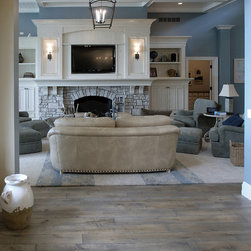 """Private Residences - Victorian™ Collection 6-3/4"""" (17 cm) Vintage French Oak hardwood floor, hand scraped, hand carved beveled Tuscany™ Style, hand distressed, acid-cured, dyed and stained in custom Gray color, triple Hardwaxed."""