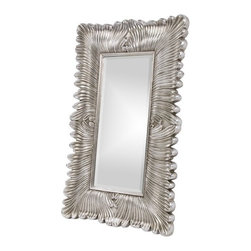 Howard Elliott - Howard Elliott 43078 Zephyr Bright Silver Leaf Mirror w/ Black brush strokes - Bright Silver Leaf Mirror w/ Black brush strokes belongs to Zephyr Collection by Howard Elliott Our Zephyr Mirror is a dramatic piece featuring a sculpted feather design radiating on its rectangular frame. It is finished in a brilliant bright silver leaf accented with black brush stroke highlights completing its Transitional look. Mirror (1)