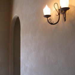 American Clay Earth Plaster - This is a custom color blend of American Clay plaster on a drywall wall in a unique straw bale home in San Diego. Photo: Simple Constuct