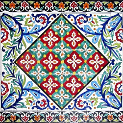 """Hand Painted Mosaic Murals - Beautiful mosaic mural consisting of 30 hand painted ceramic tiles. Total size of mural 36"""" wide x 30"""" height. Hand painted in Tunisia, a southern Mediterranean country. Tiles are fired twice between 500-600 degrees in a ceramic oven. Colorful and glossy finish. Each tile size is 6""""x 6"""" x 0.25"""" thick. Scratch resistant, water and fade resistant. For indoor and outdoor use. Easy set up and heavy duty. Ref; CCT1351"""