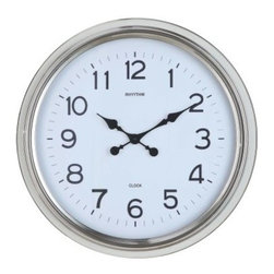 Wyeth Oversized Wall Clock - 24.5 diam. In. - The Wyeth Oversized Wall Clock - 24.5 diam. In. is modern and simply chic. Its polished frame of high-shine nickel frames a classic clock face with easy-read analog numbers. Expertly crafted, the piece runs on precision quartz movement and requires one AA battery, which is not included.About Cooper ClassicsCooper Classics was founded over 50 years ago and is currently operated by the third generation of the Cooper family. Their production and warehousing facilities are located in the Blue Ridge Mountains of Virginia, where they produce uniquely styled mirrors and accessory furniture. Because of their extensive background in wood product manufacturing, they excel in the design and production of solid wood mirror frames and furniture. Cooper's commitment to their customers is to provide products with outstanding quality and styling while maintaining a competitive price.