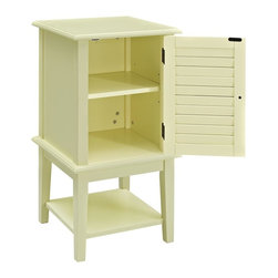 Powell Furniture - 30 in. Shutter Door Table - Interior shelf behind door. Lower shelf adds storage space. Made from MDF and solid wood. Yellow finish. Minimal assembly required. 15.75 in. W x 15.75 in. D x 30 in. H (34 lbs.)The Buttercup Table provides a stylish focus or complement to any room. The Buttercup Yellow finish keeps the piece eye-catching and will complement any decor color scheme.