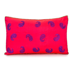 Pyar&Co - Social Swirls - Brilliant scarlet silk embroidered with metallic purple paisley swirls and gold beading gives this throw pillow a festive, exotic flair. Inspired by Indian saris, it looks fabulous next to other bright colors and metallic elements, whether the setting is modern or incorporates Eastern elements. Toss it onto a chaise for a burst of sumptuous color, or pile several onto a bed for an opulent harem look.