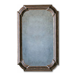 Eloquence - Vienna French Country Distressed Espresso Brown Wood Molding Antique Mirror - Rich hues of chocolate and espresso create a warm, inviting frame for this antique wood wall mirror. The architectural details create a layered molding that surrounds the softly-aged glass. A slim profile allows the mirror to maximize even the narrowest of spaces.