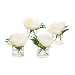"""Single Peony Glass Cube - These individual peony blossoms can be placed anywhere in the home adding a sense of whimsy to any small space that needs a touch of beauty. Among the most exquisite botanical reproductions we have encountered. Measures 5"""" X 5""""."""