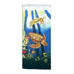 Bamboo54 - Bamboo Privacy Curtain w Sea Turtles and Trop - Made of Bamboo. 80 in. L x 36 in. W (5 lbs.)