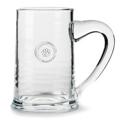 Berry and Thread Beer Stein - Iconically stamped with a motif drawn from the bounty of the country walk or the farmer's market, this Beer Stein from the Berry and Thread glassware collection is stoutly formed and unmistakably elegant, its cylindrical body flowing naturally into a generous curved handle. The clear glass makes enjoying imported ales and lagers an upscale experience.