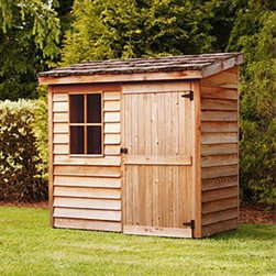 Cedar Shed 6 x 3 ft. Banff Wood Storage Shed - Additional features: Complete with one year limited manufacturer's warranty Includes a non-functional window Door can be placed on either side of the shed Assembly is easy with all necessary tools, even the bit, included Wood arrives pre-cut and ready to build Cedar features natural oils that preserve wood and resist insect damage Protect your investments by storing your valuable tools and equipment in the Cedar Shed 6 x 3 Ft. Banff Wood Storage Shed. It's built with quality cedar wood, designed to withstand weather and insects better than other woods so you don't have to worry about rot and short-term durability. Ships with all the necessary tools for easy, comprehensive assembly.For your convenience, liftgate service is included with this purchase. This means that upon delivery, the carrier will use a liftgate on the truck to lower your item to the ground. You will then need a dolly or handtruck, or assistance with the product from that point on. Many retailers charge for this service of getting the package off the truck or require the customer to do it themselves.About Cedar Shed IndustriesSince 1980, Cedar Shed has grown to be one of the largest specialty cedar product manufacturers in the world. They offer top quality products like gazebos, sheds, and outdoor furniture, all made from high-quality Western Red Cedar. Over the years, Cedar Shed has grown, developed, and matured to the point where they are now shipping thousands of gazebos and garden sheds every year to customers around the world. Why Western Red Cedar?The supremacy of Western Red Cedar as an all-weather building material is entirely natural. Along with its beauty, stability, and endurance, Western Red Cedar contains natural oils that act as preservatives to help the wood resist insect attack and decay. Properly finished and maintained, Western Red Cedar ages gracefully and endures for many years. Western Red Cedar is non-toxic and safe for all uses. Over time, the wood remains subtly aromatic and the characteristic fragrance adds another dimension to the universal appeal of the Cedar Shed products.