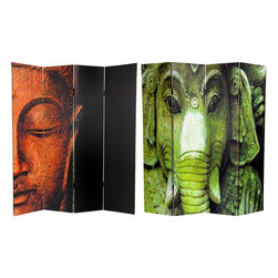 Oriental Furniture - 6 ft. Tall Double Sided Buddha and Ganesh Canvas Room Divider - Bring home the exalted serenity of the East with two of Asia's most beloved divine images. On the front is an image of Buddha, a subtle yet powerful photo with just a part of his blessed countenance visible. On the back is a sculpture of Lord Ganesh, the Hindu pantheon's Lord of Beginnings recognized the world over as the Remover of Obstacles. These two uniquely attractive images will add inspirational accents to any living room, bedroom, dining room, yoga studio, or place of business. This four panel screen has different images on each side, as shown.