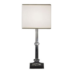 """ITALAMP - ITALAMP 353 Table Lamp - The 353 Table Lamp has been designed and made by Italamp. 353 Table Light is a contemporary lamp made of glass, Swarovski elements, metal and fabric. This modern lamp is a beautiful addition in any kind of room, small or large, home, office or hotel settings. The lamp consists of a metal structure which sustains its body in transparent glass with nickel finishes ans details in Swarovski elements. The 353 lamp is available in two dimensions with white or black colored shade fabric option. The 353 Table Lamp is dimmable and when is turned on the lamp diffuses a parade of light with bright personality. Illumination is provided by E26, 60W Halogen, or 15W Energy Saving or 10W LED bulb (not included).      Product Details: The 353 Table Lamp has been  designed  and made by Italamp. 353 Table Light is a contemporary   lamp made of    glass, Swarovski elements, metal and fabric. This modern  lamp is a beautiful addition in any kind of room, small or large, home, office or hotel settings. The  lamp consists of a metal structure which sustains its   body in transparent glass with  nickel finishes ans details in Swarovski elements.  The 353 lamp is available  in two dimensions with white or black colored shade fabric option. The 353 Table Lamp is dimmable and when is turned on the lamp diffuses a parade of light with bright personality. Illumination is provided by E26, 60W  Halogen,   or 15W Energy Saving or 10W LED bulb (not included). Details:                         Manufacturer:            Italamp                            Designer:            Italamp                            Made in:            Italy                            Dimensions:                        Small: 353/LP: Diameter: 7.9""""(20.1cm) X Height: 17.8""""(45.2cm)             Large: 353/LG: Diameter: 10.3""""(26.2cm) X Height: 23.7""""(60.2cm)                                         Light bulb:                        Small: 353/LP: E26, 1x60W Halogen / 1x15W Energy Saving / 1x10W L"""