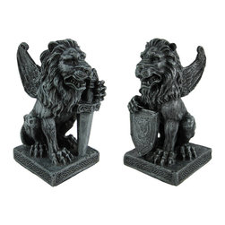 Skullplanet - Pair of Roaring Lion Gargoyle Statues with Sword and Shield - In medieval times, ancient architects and stone carvers used gargoyles on buildings as a way to ward off evil spirits and bad luck. This pair of cold cast resin lion gargoyles is perfect for any fanatic of medieval times. The detail is incredible, from the feathers on the wings to the markings on the shield and sword. Each statue measures 6 inches tall, 3 inches wide and 3 inches deep. They make for a great pair of unique bookends, and look equally great on the front porch or in the garden.