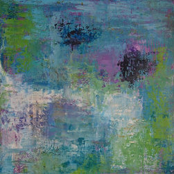 """Sarah Gentry - """"Lily Blur 2"""" Original Oil and Wax Painting - This is an original oil and wax painting on board with 2"""" frame. The frame is natural wood."""