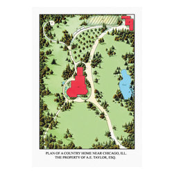 Buyenlarge - Plan of a Country Home Near Chicago ILL. 28x42 Giclee on Canvas - Series: Landscape Architecture