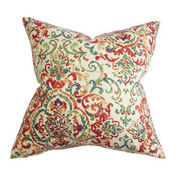 PILLOW COLLECTION INC - Halcyon Floral Feather and Down Filled Throw Pillow Multi - Bring a contemporary feel to your interiors with this artsy decor pillow. An assortment of floral details adorn this plush throw pillow. Shades of orange,green,red,purple are set on a white background.