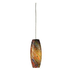 Elk Lighting - EL-10079/1RV Vortex 1-Light Rainbow Pendant in Satin Nickel - Individuality is what defines this exquisite line of hand blown glass. Each piece is meticulously hand blown with up to three layers of uncompromising beauty and style.