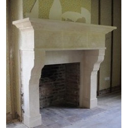 Tuscan stone fireplace mantel - Tuscan limestone fireplace mantel is hand made from quality crashed limestone and has simple geometric lines that would bring beautifully into any room. Simplicity is sometimes everything. We can custom design any stone fireplace surround to your specifications.