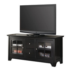 "Walker Edison - 52"" Black Wood TV Stand Console - Function meets fashion with this wood media console. Features two multi-functional storage drawers and two side cabinets with adjustable shelving behind tempered safety glass. Built from high-grade MDF to accommodate TVs up to 55 inches and includes a built in cable management system."