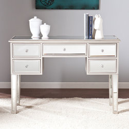 Upton Home - Upton Home Monroe Mirrored Console Table - This Upton Home mirrored console table features a beveled mirrored finish,silver painted trim,and crystal style knobs for a glamorous touch to any room. This console is the perfect alluring piece to complete even your living room or dressing area.