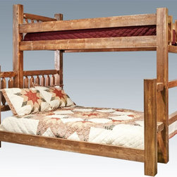 "Montana Woodworks - Twin over Full Bunk Bed in Lacquered Finish - Bunk Bed Warning. Please read before purchase.. NOTE: ivgStores DOES NOT offer assembly on loft beds or bunk beds. Includes one twin sized poly-deck mattress support and one full size ""Bunky Board"". Handcrafted with heirloom quality. Sawn squared timber and trim pieces. Durable and fit with rustic features. Personally signed by artisans. Mortise and Tenon joinery style. A+ rating fron BBB. Made from solid US grown wood. Stained and lacqured finish. Made in USA. 87 in. L x 55 in. W x 74 in. H (300 lbs.). Use and Care Instructions. WarrantyHomestead Collection of fine rustic furniture features timbers and trim pieces similar reminiscent of a timber framed home on the American frontier..From Montana Woodworks, the largest manufacturer of handcrafted quality log furnishings in America comes the all new Homestead Collection line of furniture products. The artisans rough saw all the timbers and accessory trim pieces for a look uniquely reminiscent of the timber-framed homes once found on the American frontier. All Homestead Collection beds feature the tried and true mortise and tenon joinery system utilized for millennia by true craftsmen the world over."