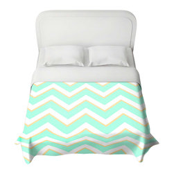 DiaNoche Designs - Duvet Cover - Caribbean Summer Flower Mint Chevron Yellow - Lightweight and super soft brushed twill Duvet Cover sizes Twin, Queen, King.  Cotton Poly blend.  Ties in each corner to secure insert. Blanket insert or comforter slides comfortably into Duvet cover with zipper closure to hold blanket inside.  Blanket not Included. Dye Sublimation printing adheres the ink to the material for long life and durability. Printed top, khaki colored bottom, Machine Washable, Product may vary slightly from image.