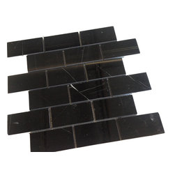 "Nero Marquina 2x4"" Marble Mosaic Tile - Premium Nero Marquina Spanish marble tile.  Available online from thebuilderdepot.com"