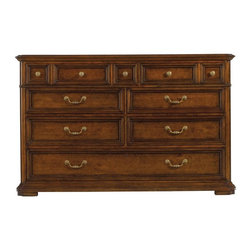 Stanley - Arrondissement Grand Rue Dresser - Ample storage is the hallmark of the Grand Rue Dresser. Featuring eight drawers, including a partitioned bottom drawer for tidier storage, the dresser is a classic design that features a maple inlay on the top. A mix of genuine brass knobs and pulls add to the timeless look of the piece.