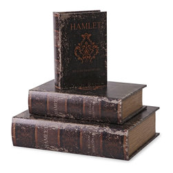 iMax - iMax Hamlet Book Boxes - Set of 3 X-3-02778 - Replicating aged Hamlet books, this set of three boxes look great on any tabletop or bookshelf and provide additional storage for small items.
