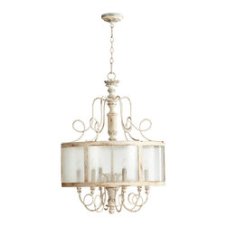 Kathy Kuo Home - Chantilly French Country Parisian Blue White 6 Light Round Pendant - Cherchez la femme and all things girly!  This creamy white, six light pendant captures the artistry and elegance of French Country and Gustavian style and adds a delightful update in the form of glass panels diffusing the light.