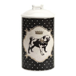 iMax - iMax Dog Ceramic Canister Medium - Store all the essentials for your canine friend in this beautiful medium ceramic container with royal graphics.