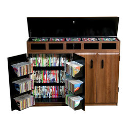 Venture Horizon - Front & Top Load Media Cabinet w Beveled Doors in 2 Tone Finish - A locking top adds an extra level of protection for your movies and music, making this media cabinet a great way to keep your collection safe, organized and accessible. The cabinet is made of durable wood composite in dark walnut finish with black interiors for added visual interest and includes both shelving and side pockets. Double wide size. Convenient top side access. Locking top panel. Elegant styling. Rugged and sturdy. Constructed from durable, stain resistant and laminated wood composites that includes MDF. Made in the USA. Assembly required. Media storage capacity:. CD's : 843. DVD's : 448. Blu-ray's: 684. VHS tapes: 270. Disney tapes: 170. Audio cassettes: 800+. Weight: 114 lbs.. Assembled Size: 48.5 in. W x 13 in. D x 37.25 in. HElegant, dramatic and useful! We took our highly popular Media Cabinet and made it even better...twice. We raised it 6 in.es and added a lid for convenient top side access with Model # 2362. The Top Load locks (top section only) providing secure storage for expensive DVD's, CD's, video tapes and more. It is also a welcome deterrent to curious young children. The top as well as the doors, drawers and routed insets are elegantly molded creating a soft stylish appearance.