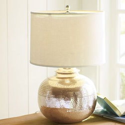 Pierce Bedside Lamp - This is a simple and lovely hand-hammered antique silver lamp.