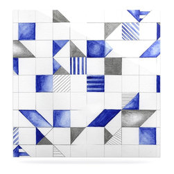 """Kess InHouse - Kira Crees """"Winter Geometry"""" White Blue Metal Luxe Panel (8"""" x 8"""") - Our luxe KESS InHouse art panels are the perfect addition to your super fab living room, dining room, bedroom or bathroom. Heck, we have customers that have them in their sunrooms. These items are the art equivalent to flat screens. They offer a bright splash of color in a sleek and elegant way. They are available in square and rectangle sizes. Comes with a shadow mount for an even sleeker finish. By infusing the dyes of the artwork directly onto specially coated metal panels, the artwork is extremely durable and will showcase the exceptional detail. Use them together to make large art installations or showcase them individually. Our KESS InHouse Art Panels will jump off your walls. We can't wait to see what our interior design savvy clients will come up with next."""