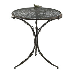 Cyan Design - Cyan Design Bird Bistro Table X-44610 - From the Bird Collection, this Cyan Design bistro table is a charming addition to small dining spaces, covered patios and more. It features iron and glass construction, with slender branch detailing throughout for a visually appealing, textural look. It has been finished in Muted Rust and features a charming bird accent.