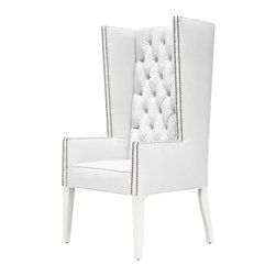 Ultra Tall Mod Wing Dining Chair in Faux White Croc Leather - Feel like the king of the dining table in this Ultra Tall Mod Wing Dining Chair in Faux White Croc Leather.