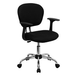 Flash Furniture - Flash Furniture Mid-Back Black Mesh Task Chair with Arms and Chrome Base - This value priced mesh task chair will accommodate your essential needs for your home or office space. This chair will add a contemporary look to your work space. chair features a breathable mesh material with a comfortably padded seat. [H-2376-F-BK-ARMS-GG]