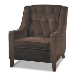Office Star - Office Star Avenue Six Curves Tufted Accent Chair in Chocolate Velvet Fabric - The Curves Tufted Chair simple design includes a classic multi-tufted back, comfortable Dacron wrapped foam cushions with a box spring seat for lasting comfort.