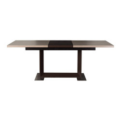 Diamond Sofa - Studio Ash Grey and Brown Extension Dining Table - The Ext Dining Table has a 20 inch locking leaf extension that allows the table to extend from 63 to 83 inches. Matte brown painted leaf & base with contrasting ash grey finish accentuates the sleek design.