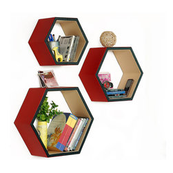 Blancho Bedding - [Romantic Charm]Hexagon Leather Wall Shelf / Bookshelf / Floating Shelf Set of 3 - These beautifully Hexagonal Shaped Wall Shelves display the art of woodworking and add a refreshing element to your home. Versatile in design, these leather wall shelves come in various colors and patterns. These elegant pieces of wall decor can be used for various purposes. It is ideal for displaying keepsakes, books, CDs, photo frames and so much more. Install as shown or you may separate the shelves to create a layout that suits your taste and your style. They spice up your home's decor, and create a multifunctional storage unit for all around your home.  Each box serves as a practical shelf, as well as a great wall decoration.