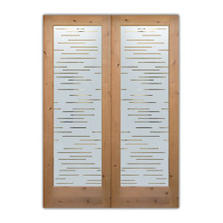 "Glass Front Entry Doors - Frosted Glass Obscure - FINER LINES neg - Glass Front Doors, Entry Doors that Make a Statement! Your front door is your home's initial focal point and glass doors by Sans Soucie with frosted, etched glass designs create a unique, custom effect while providing privacy AND light thru exquisite, quality designs!  Available any size, all glass front doors are custom made to order and ship worldwide at reasonable prices.  Exterior entry door glass will be tempered, dual pane (an equally efficient single 1/2"" thick pane is used in our fiberglass doors).  Selling both the glass inserts for front doors as well as entry doors with glass, Sans Soucie art glass doors are available in 8 woods and Plastpro fiberglass in both smooth surface or a grain texture, as a slab door or prehung in the jamb - any size.   From simple frosted glass effects to our more extravagant 3D sculpture carved, painted and stained glass .. and everything in between, Sans Soucie designs are sandblasted different ways creating not only different effects, but different price levels.   The ""same design, done different"" - with no limit to design, there's something for every decor, any style.  The privacy you need is created without sacrificing sunlight!  Price will vary by design complexity and type of effect:  Specialty Glass and Frosted Glass.  Inside our fun, easy to use online Glass and Entry Door Designer, you'll get instant pricing on everything as YOU customize your door and glass!  When you're all finished designing, you can place your order online!   We're here to answer any questions you have so please call (877) 331-339 to speak to a knowledgeable representative!   Doors ship worldwide at reasonable prices from Palm Desert, California with delivery time ranges between 3-8 weeks depending on door material and glass effect selected.  (Doug Fir or Fiberglass in Frosted Effects allow 3 weeks, Specialty Woods and Glass  [2D, 3D, Leaded] will require approx. 8 weeks)."