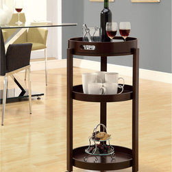 Monarch - Cappuccino Bar Cart With Serving Tray - When you're not using this rolling bar cart for serving drinks to guests,it functions as a versatile side table. Its cappuccino finish and three-tiered rounded design give it a traditional look that blends well with your home's decor.