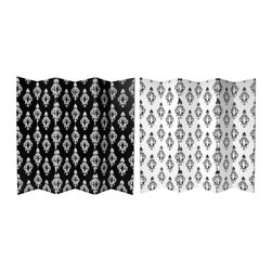 Oriental Unlimited - 6-Panel Double Sided Black & White Damask Can - One double-sided divider, both sides shown in image. Beautiful and substantial 6 panel folding floor screen. Quality art canvas stretched over sturdy wood frames. Black and White European style medallion patterns on both sides. Each panel: 15.75 in. W x 70.88 in. H. Base weight: 16.5 lbs.
